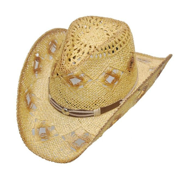 Straw Hat / Ladies / Diamond Holes Brown Tone - L/xl - Womens Hats
