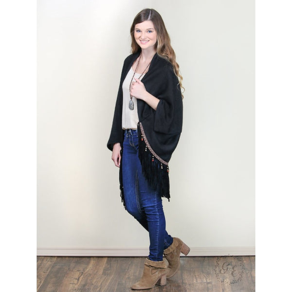 Tabithas Beaded Fringe Poncho Black - Womens Outerwear
