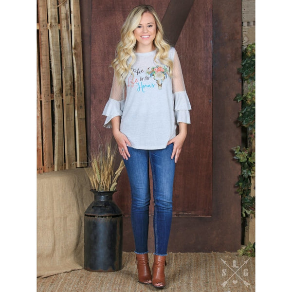 Take Life By The Horns On Grey With Lace Accent Sleeves - Womens Tops