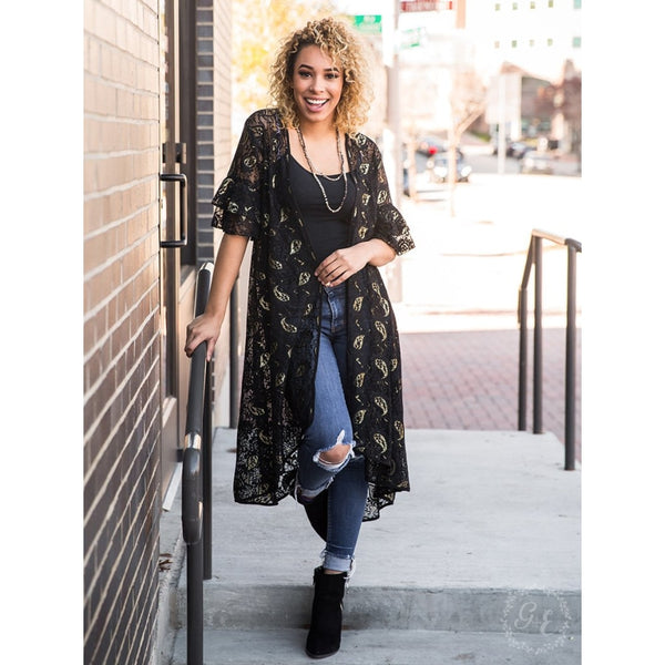 The Shimmer & Shine Paisley Lace Kimono - Womens Outerwear