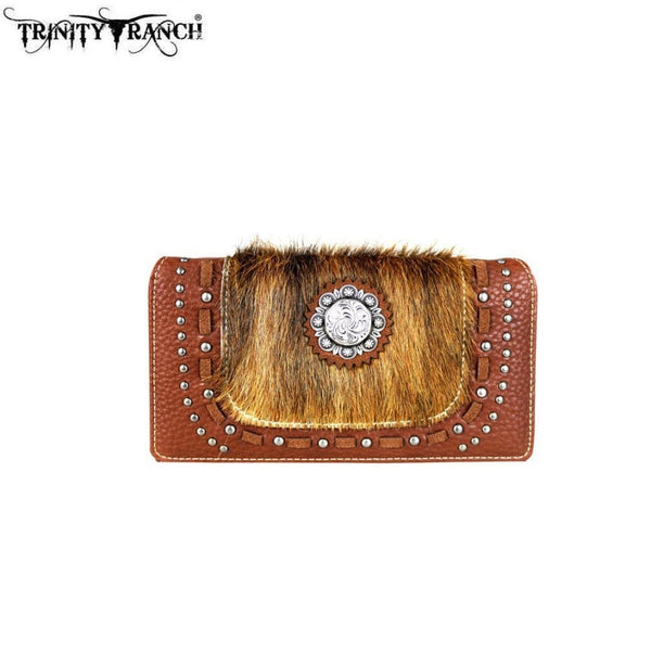 Trinity Ranch Hair-On Concho Collection Secretary Style Wallet - Brown - Bags & Purses