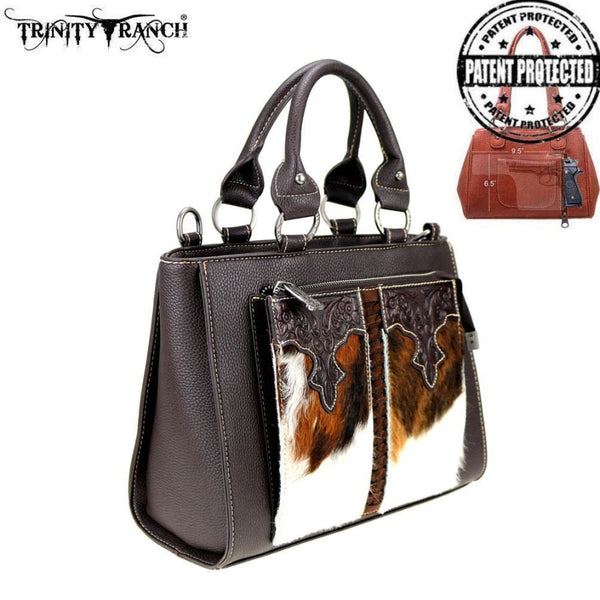 Trinity Ranch Hair-On Leather Collection Concealed Carry Organizer Satchel/crossbody - Bags & Purses