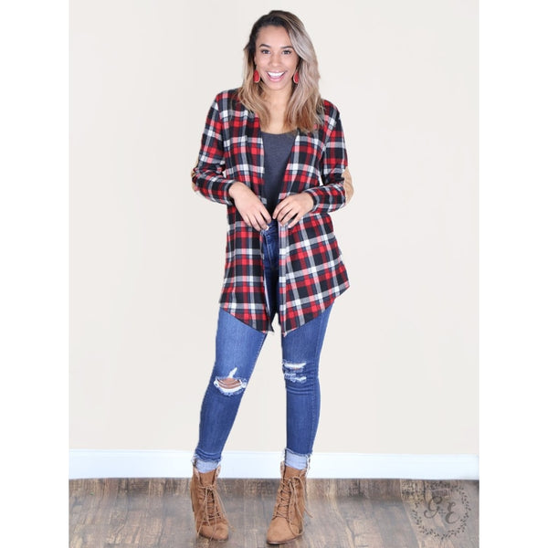 Trinitys Black & Red Plaid Cardigan - Womens Outerwear