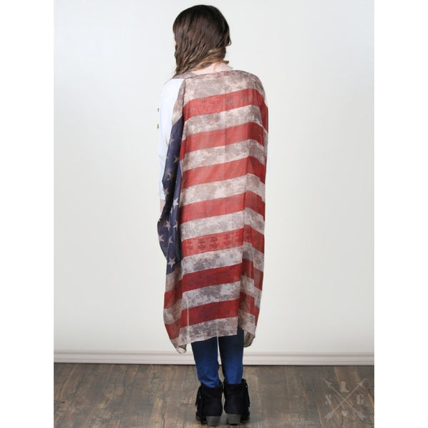 Vintage Stars & Stripes Vest - Womens Outerwear