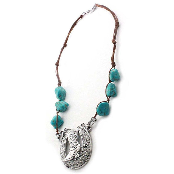 Western Antique Silver Horseshoe Necklace Turquoise Beads & Earrings - Accessories