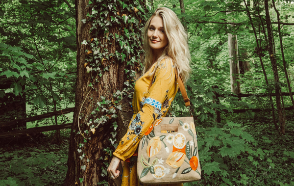Our embroidered lime n lemon jute tote bag | Why Jute Handbags Are Eco-Friendly