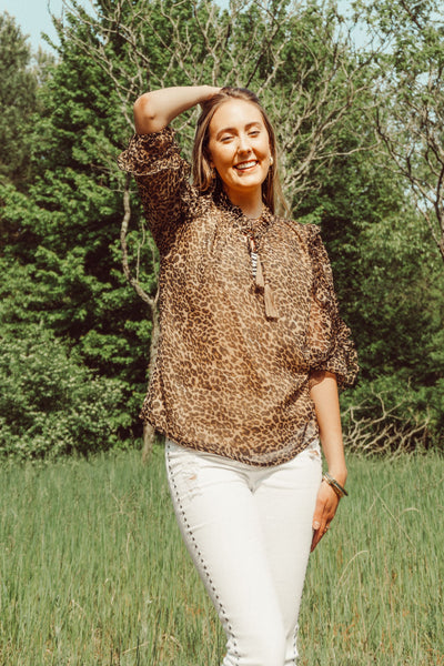 leopard ruffle blouse by America&Beyond