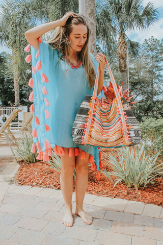 Aqua Green Embellished Caftan | Wear Pastel Color Boho Clothing