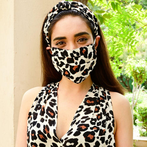 Stylish leopard print cotton face mask
