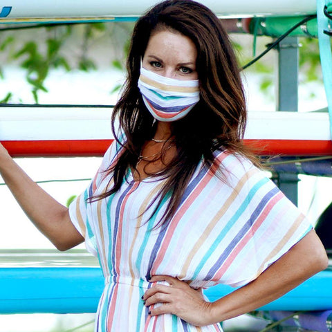 bright and beautiful sunny stripe cotton face mask