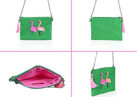 flamingo green and pink clutch