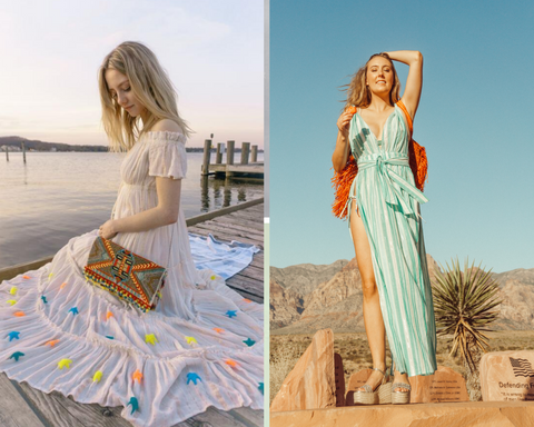 boho-chic rainbow stars off-shoulder dress & waterfall maxi dress by America & Beyond