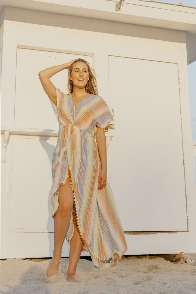 Rainbow Stripe Maxi Dress Cover Up | America and Beyond