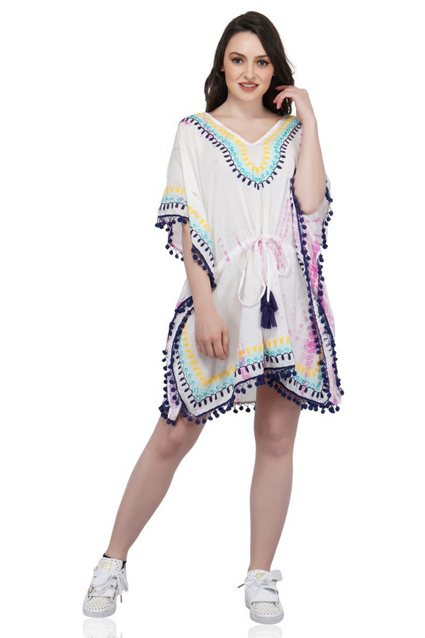 Conch Shell Embroidered Caftan | Cotton Boho Kaftan