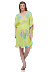 Canary Embroidered Kaftan | Yellow Kaftan Short Dress