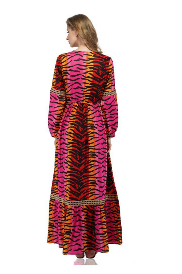 Rainbow Tiger Print Lace Dress