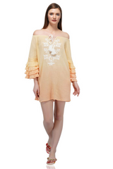 Ombre Embroidered Tunic Dress With Tiered Fluted Sleeves