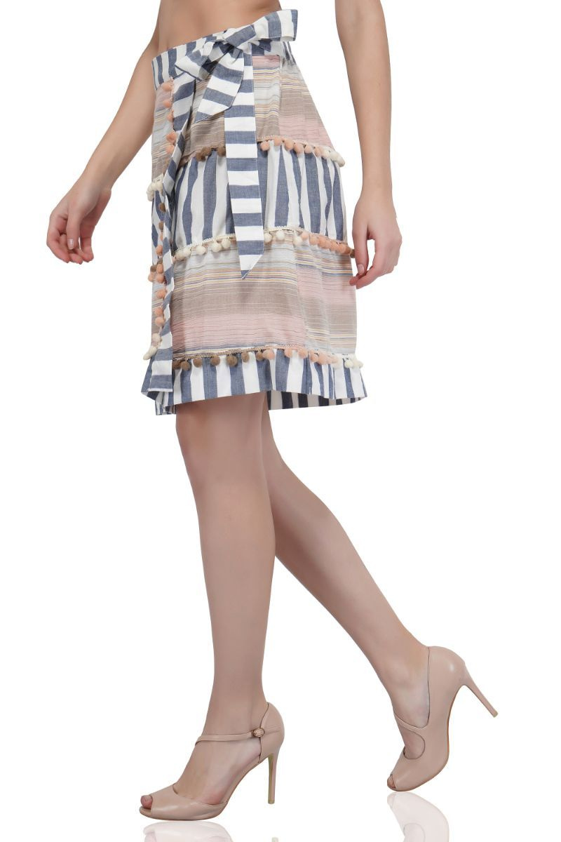 Contessa Striped Wrap Skirt | Bohemian Cotton Bottom