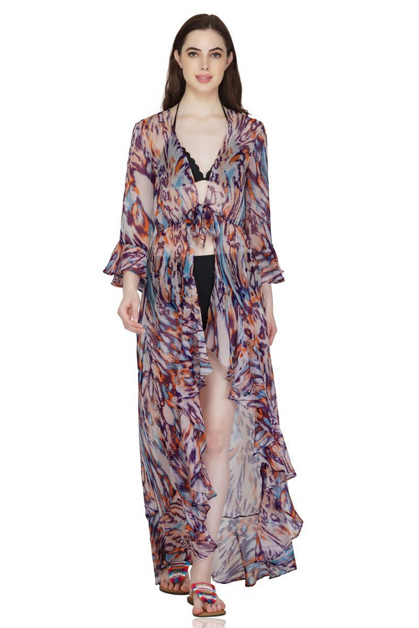 Wisteria Bloom Beach Kimono | Beach Cover up