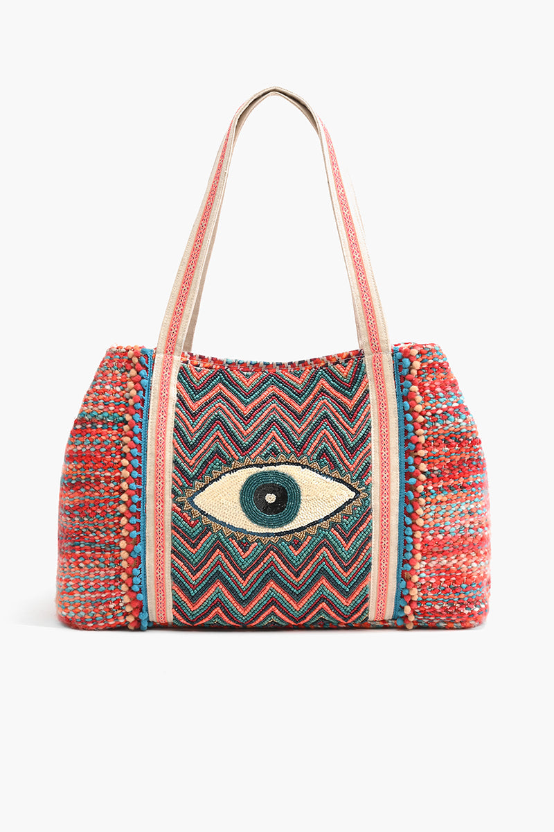 Evil Eye Good Luck Hand Beaded Tote