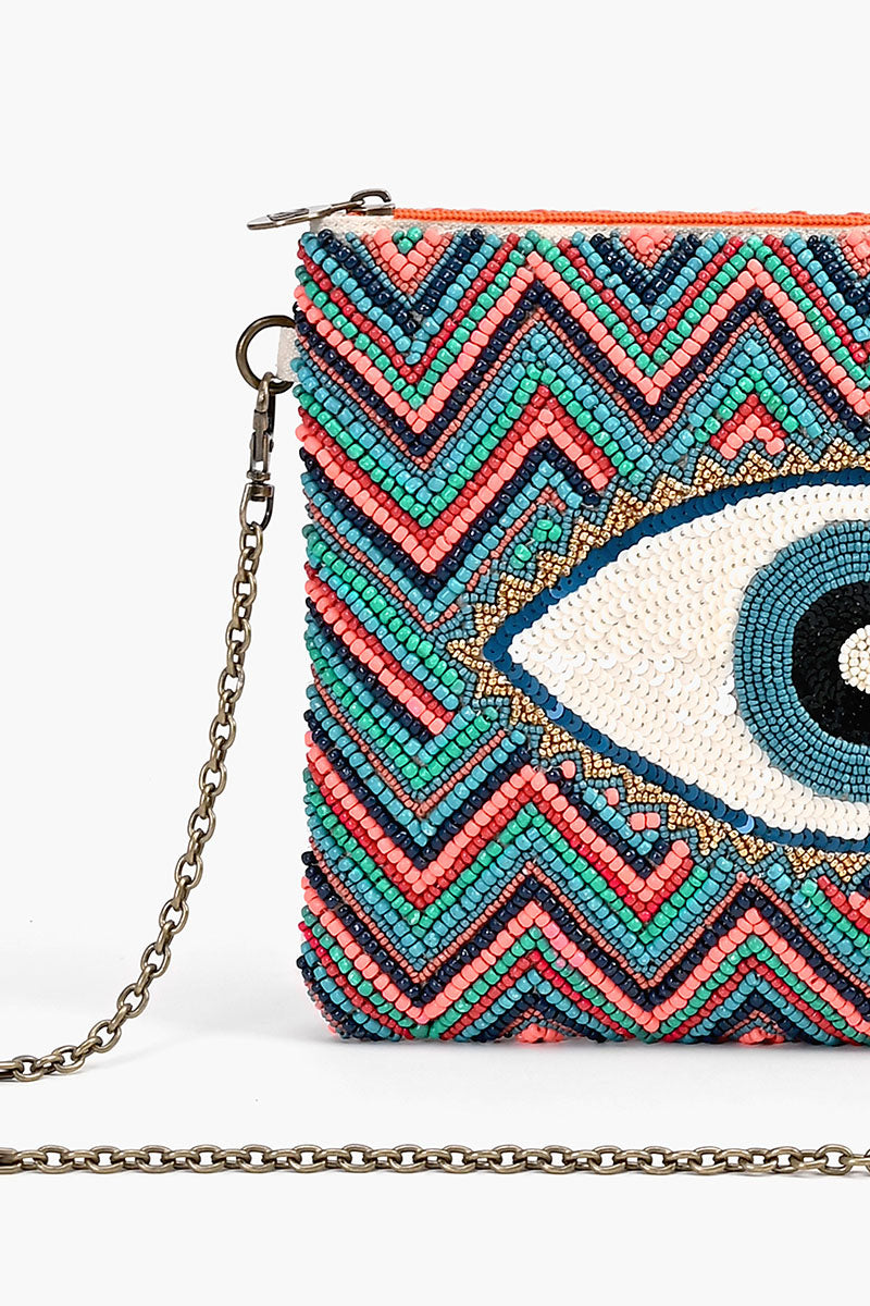 Evil Eye Good Luck Clutch with Removable Crossbody Chain