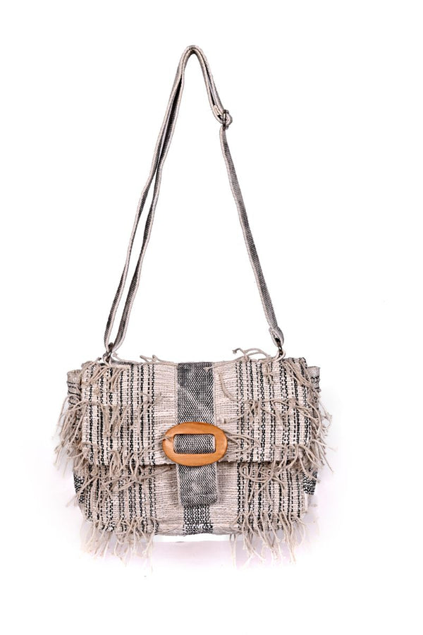 Putty Fringed Clutch