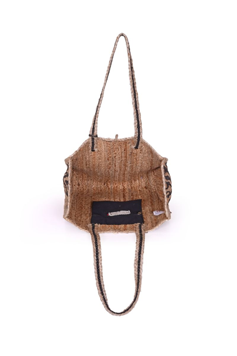 Zebra Imprinted Jute Beach Tote