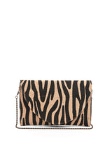 Zebra Imprinted Jute Clutch