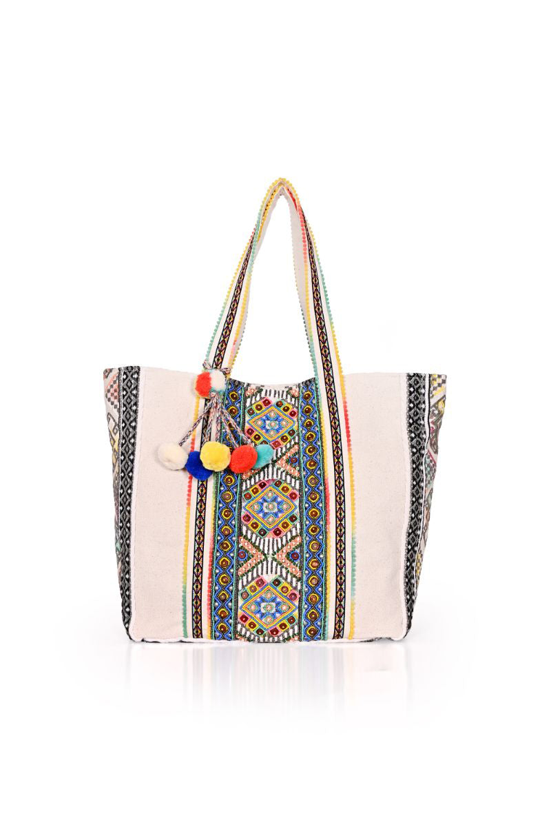 Hand Beaded Boho Tribal Tote