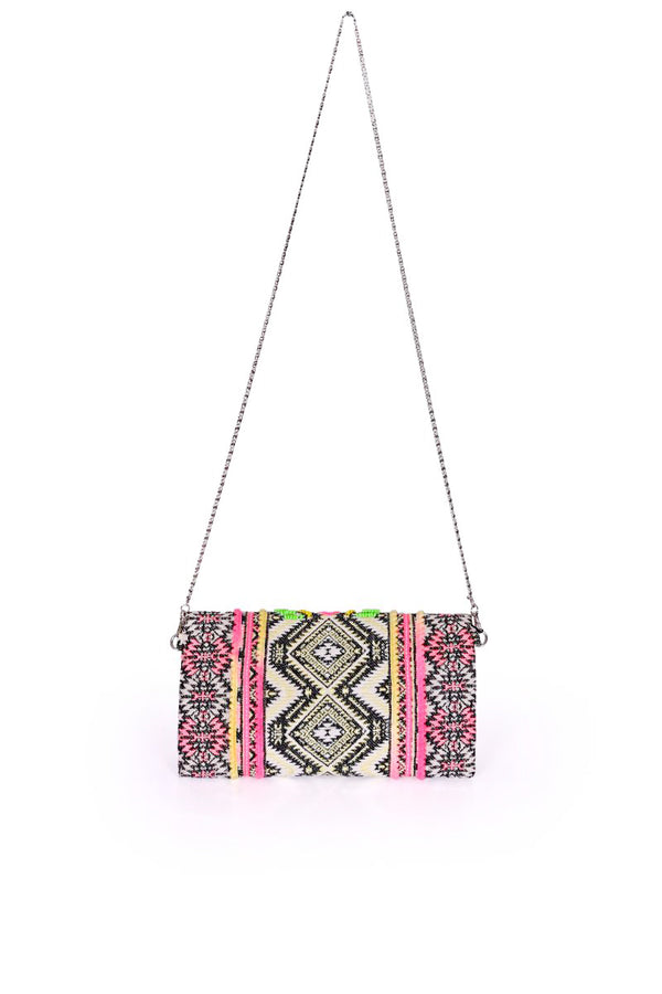 Tribal Tones Embellished Clutch