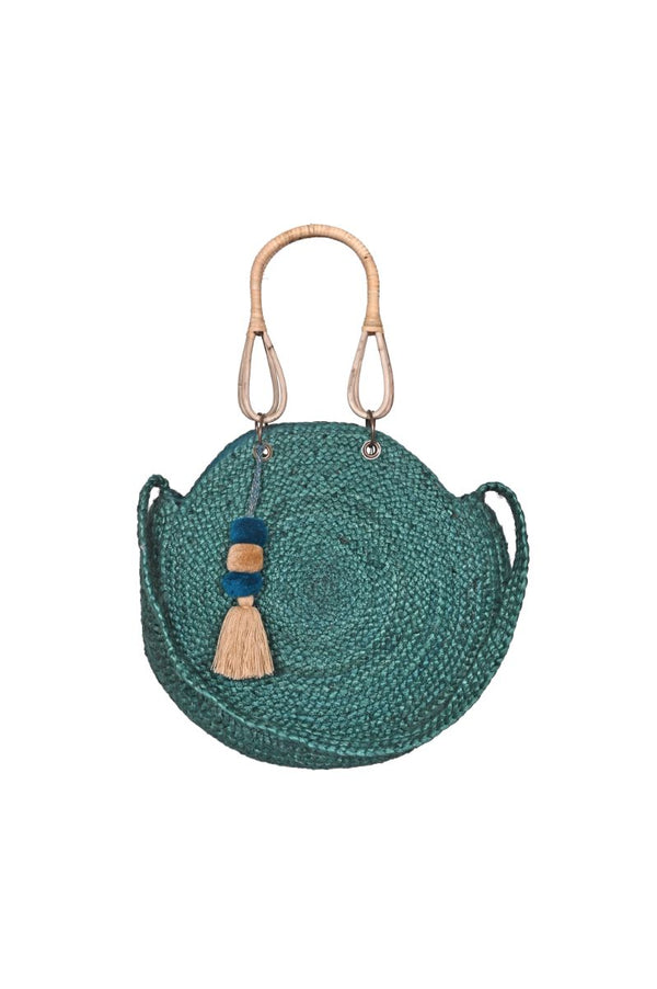 Peacock Green Jute Round Bag with Hand Made Cane Handles
