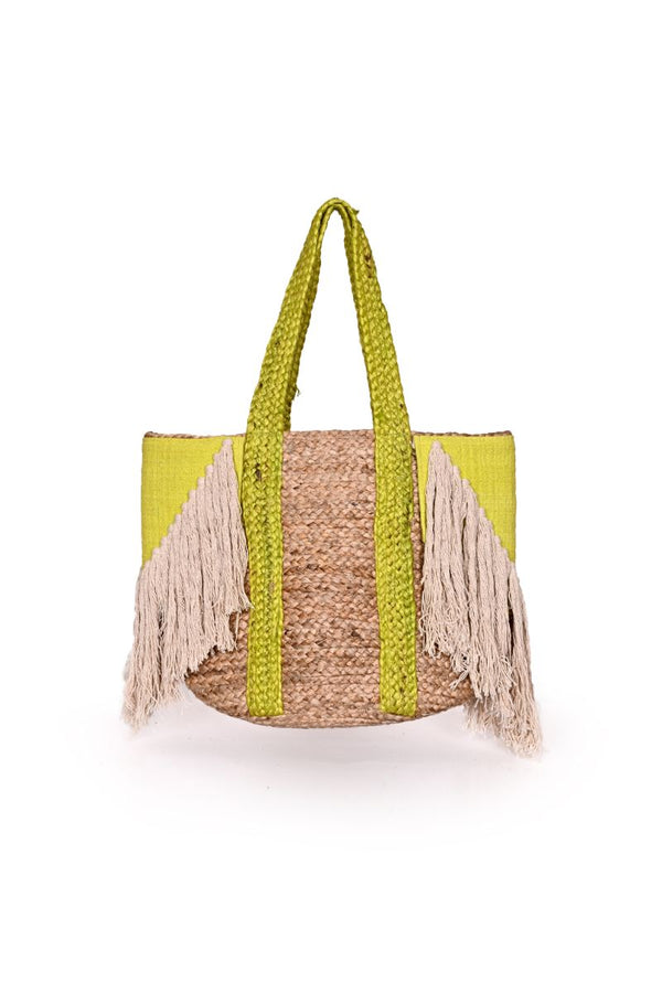 Neon Green Fringed Jute Tote