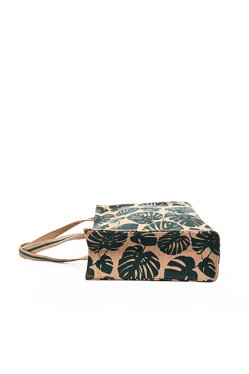 Tropical Leaf Imprinted Jute Shoulder bag