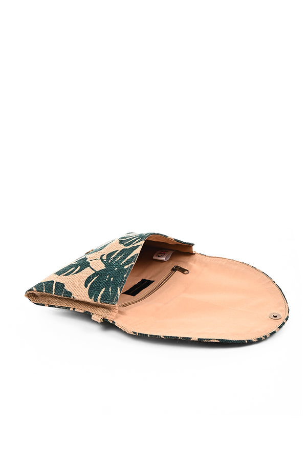 Palm Leaf Hand Printed Jute Clutch