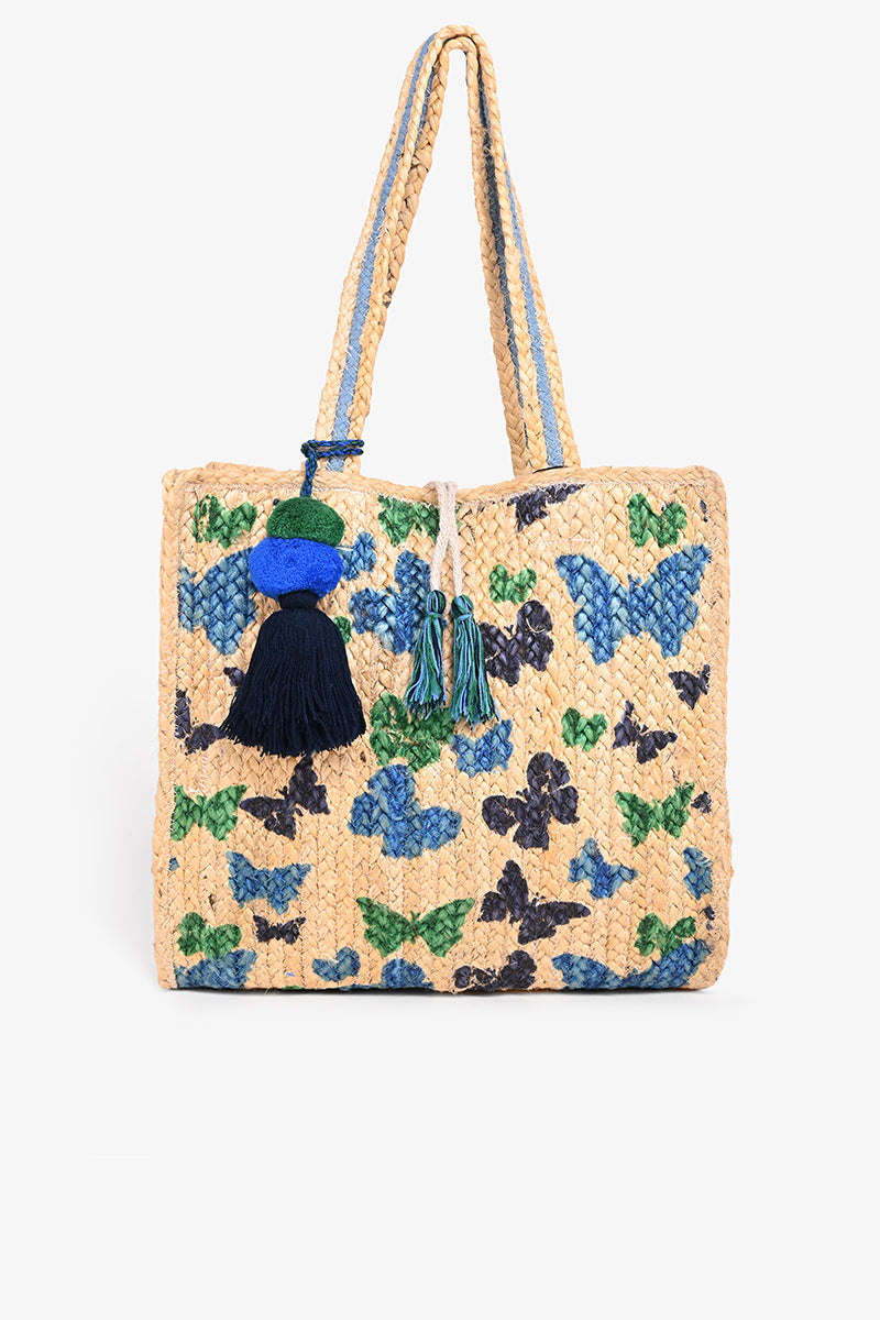 Butterflies Imprinted Jute Shoulder Bag
