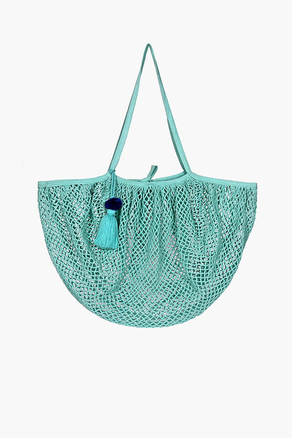 The Perfect French Market Tote in Hand Dyed Aqua