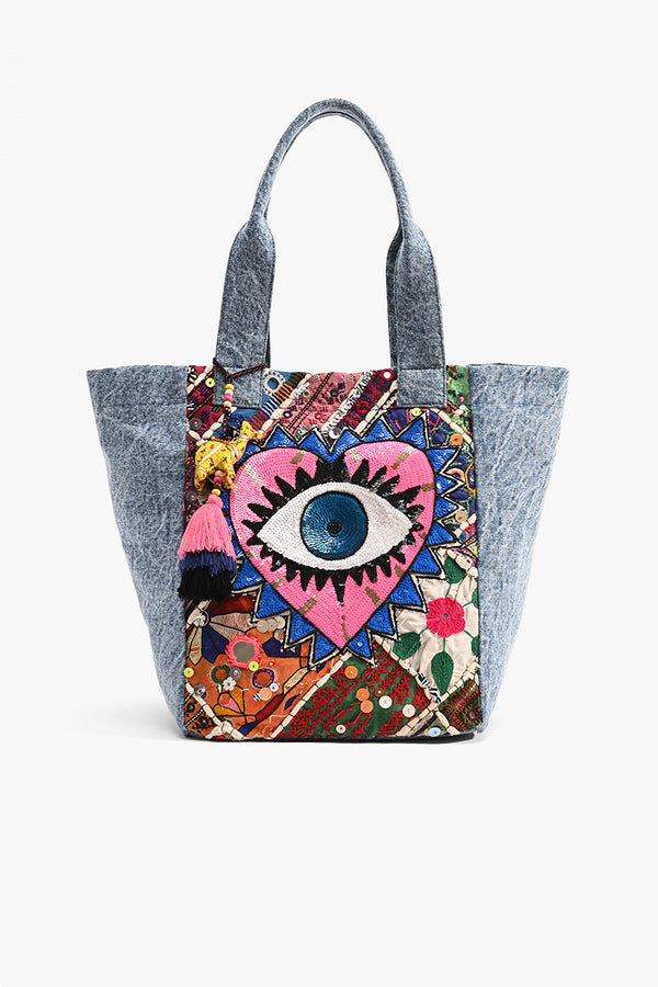 Watch Over Me Evil Eye Denim Tote