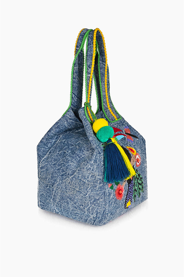 Trendy Toucan Denim Tote
