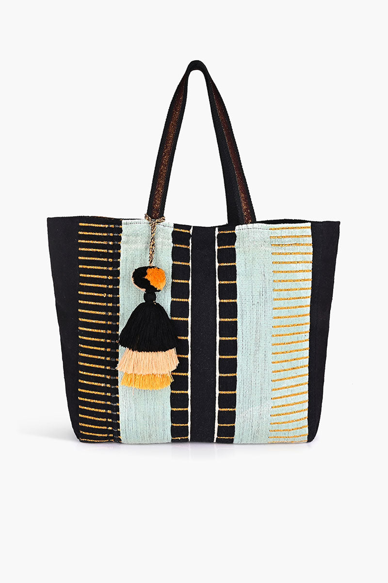 Minty Metallic Striped Tote