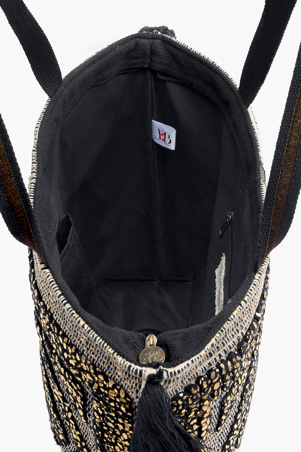 Gold Foil Tufted Tote