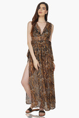 Luxe Leopard Print Maxi Beach Cover Up