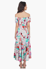 Amethyst Bloom Off-shoulder Maxi Dress