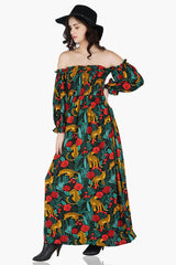 Jaguar Paradise Maxi Shirred Dress