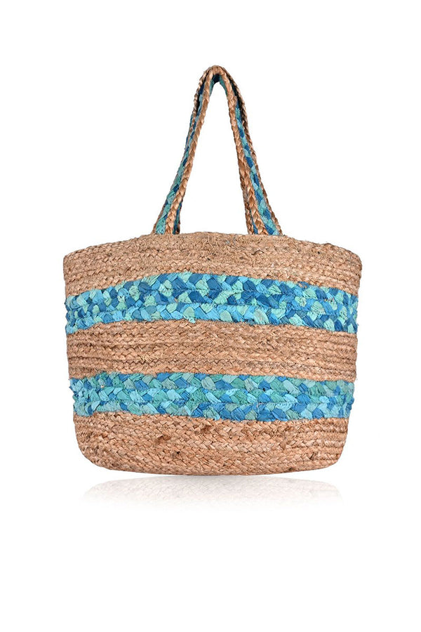 Natural Jute & Cotton Stripe Shopping Bag