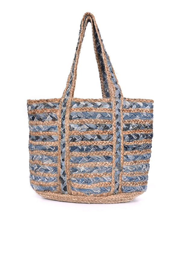 Blue Heaven Cotton Jute Beach Bag