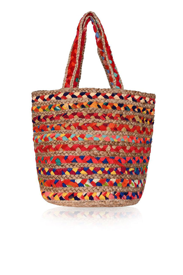 Multi Colour Organic Jute Bucket Bag With Tassle