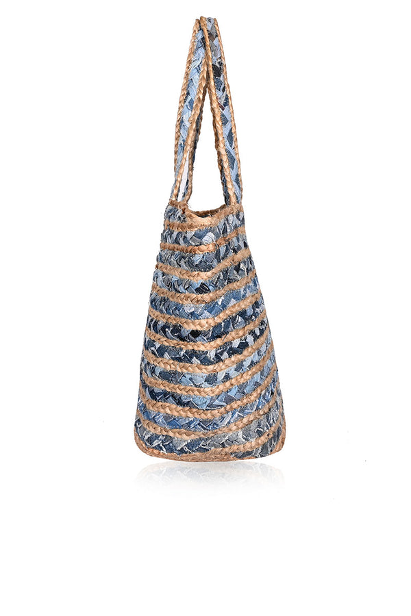 Blue Heaven Cotton Jute Bucket Bag