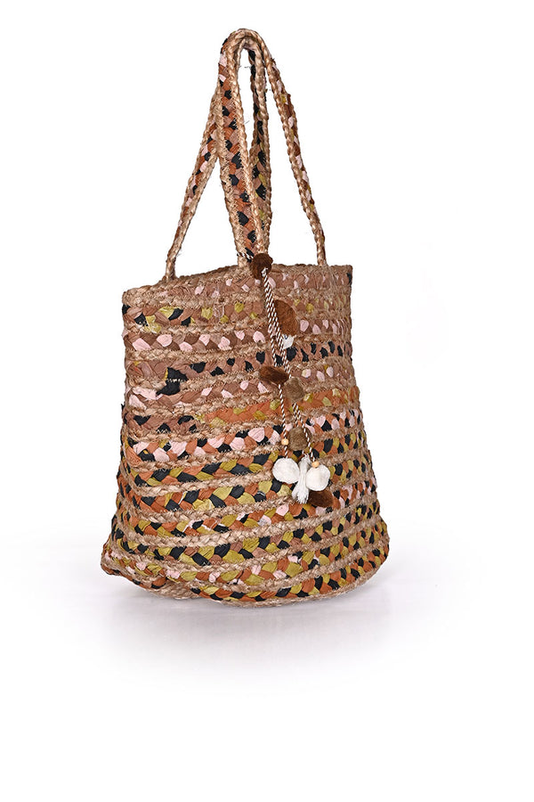 Red Jute Bucket Bag