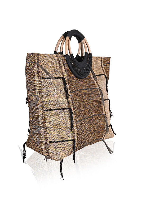 Metallic Jacqauard Tote with Cane Handles