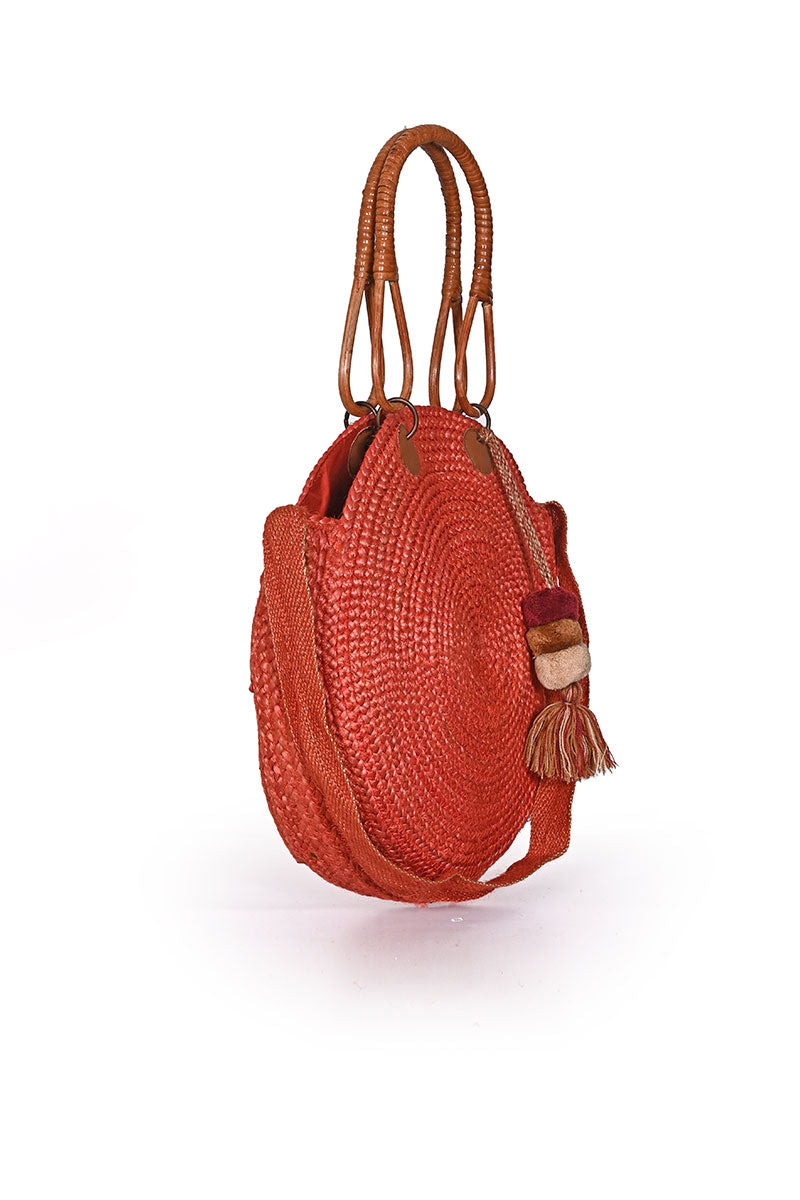Burnt Sun Round Jute Bag with Cane Handles